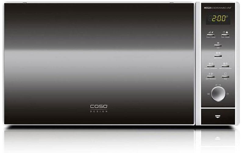 CASO MCG 25 Ceramic Chef СВЧ-печьMCG 25 Ceramic ChefCASO MCG 25 Ceramic Chef - стильная СВЧ-печь в оригинальном черно-серебристом корпусе. Зеркальная передняя панель подчеркивает изящество дизайна. Данная модель имеет внутреннее освещение и удобное электронное управление для максимально комфортной эксплуатации. Множество автоматических программ, а также таймер со звуковым сигналом также поможет быстро и просто приготовить то или иное блюдо.Автоматических программ: 9 Возможность отключения звукового сигнала Таймер: 95 мин