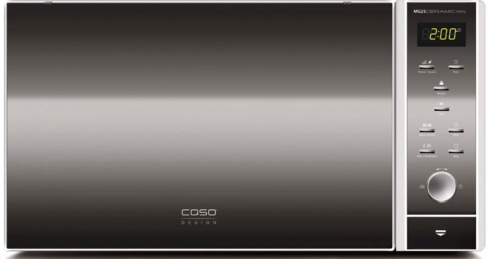 CASO MG 25 Ceramic Menu СВЧ-печьMG 25 Ceramic MenuCASO MG 25 Ceramic Menu - стильная СВЧ-печь в оригинальном черном корпусе с серебристыми элементами. Зеркальная передняя панель подчеркивает изящество дизайна. Ровное керамическое дно очень легко моется и дает больше места для прямоугольных форм при готовке. Отражатель микроволн равномерно распределяет микроволны, блюдо отлично готовится со всех сторон.Данная модель имеет внутреннее освещение и удобное электронное управление для максимально комфортной эксплуатации. Множество автоматических программ, а также таймер со звуковым сигналом также поможет быстро и просто приготовить то или иное блюдо.Автоматических программ: 10 Возможность отключения звукового сигнала Таймер: 95 мин