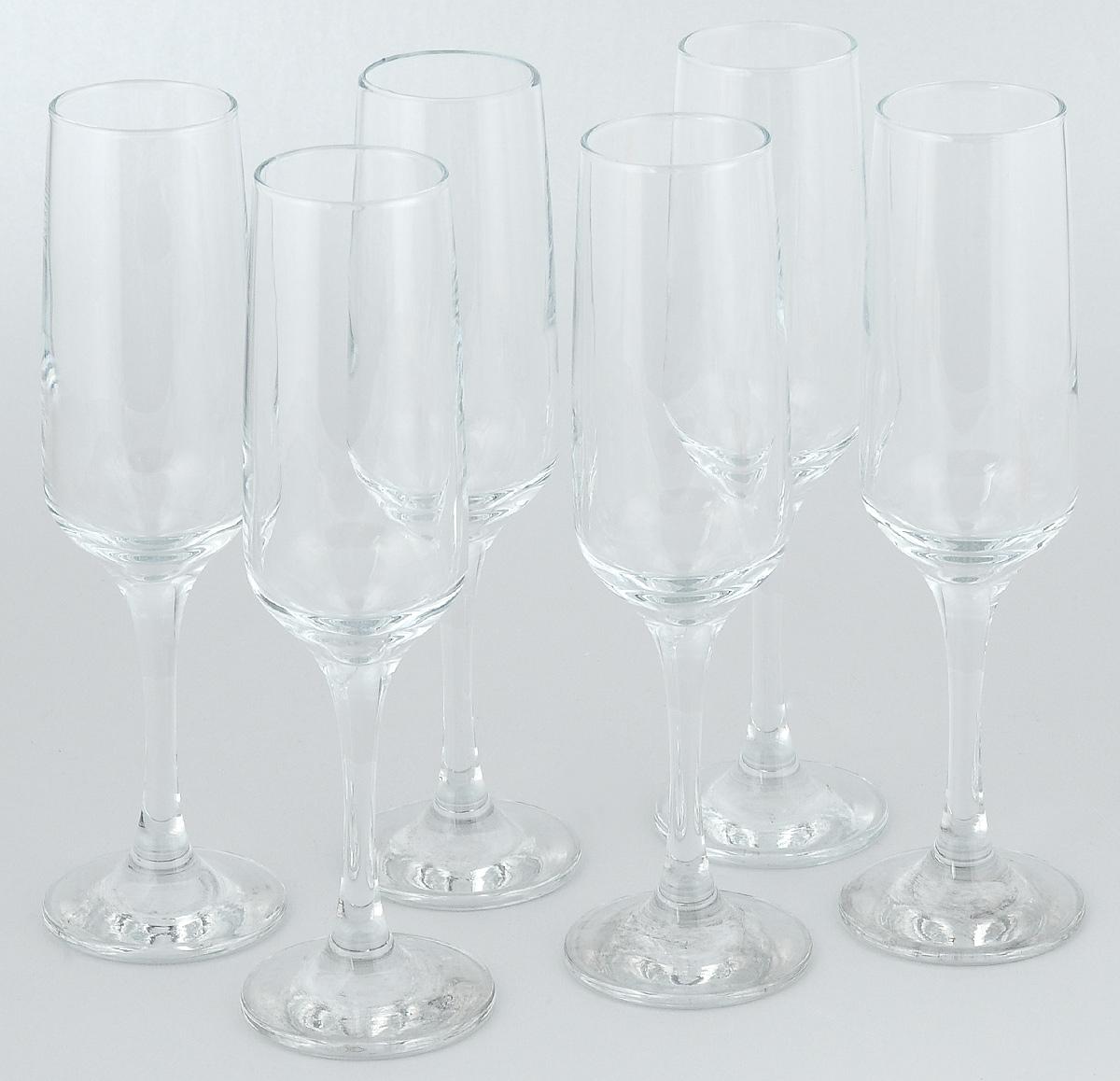Набор фужеров для шампанского Pasabahce Isabella, 200 мл, 6 шт набор бокалов pasabahce isabella 65 мл 6 шт