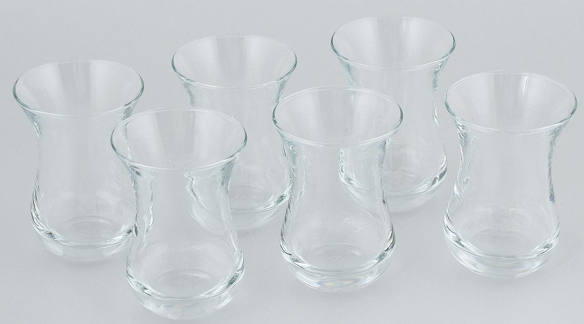 """Набор """"Pasabahce"""" состоит из шести стаканов, выполненных из натрий-кальций-силикатного стекла. Изделия предназначены для подачи сока, воды, компота и других  напитков. Такие стаканы станут идеальным украшением праздничного стола и отличным подарком к любомупразднику."""
