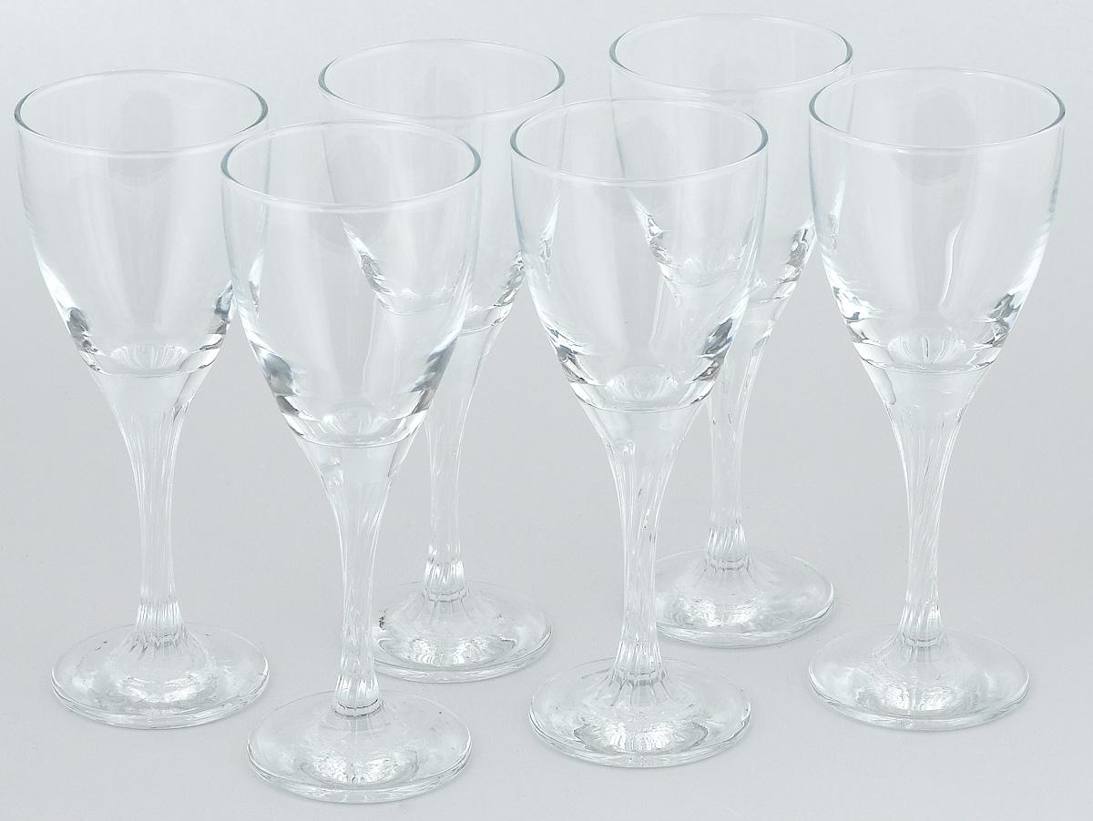 """Набор Pasabahce """"Twist"""" состоит из шести бокалов,  выполненных из прочного натрий-кальций-силикатного стекла. Изделия  оснащены невысокими ножками и сочетают в себе элегантный дизайн и  функциональность.  Набор бокалов Pasabahce """"Twist"""" прекрасно  оформит праздничный стол и создаст  приятную атмосферу за романтическим ужином.  Такой набор также станет  хорошим подарком к любому случаю."""