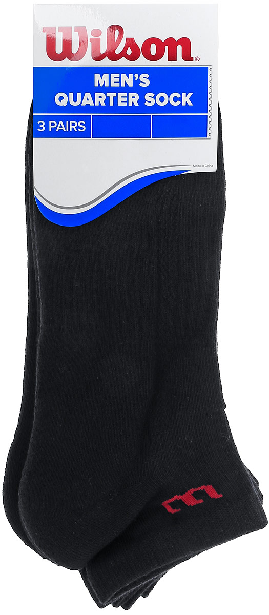 Носки мужские Wilson Quarter Sock, цвет: черный, 3 пары. WRA515701. Размер универсальныйWRA515701Мужские носки для тенниса Wilson Quarter Sock изготовлены из высококачественного эластичного хлопка с добавлением полиэстера и нейлона. Укороченные носки имеют эластичную резинку, которая надежно фиксирует носки на ноге. В комплект входят 3 пары носков.