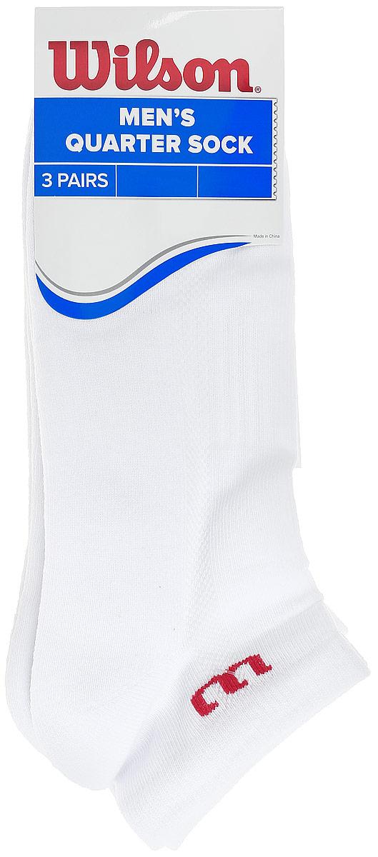 Носки мужские Wilson Quarter Sock, цвет: белый, 3 пары. WRA512700. Размер универсальныйWRA512700Мужские носки для тенниса Wilson Quarter Sock изготовлены из высококачественного эластичного хлопка с добавлением полиэстера и нейлона. Укороченные носки имеют эластичную резинку, которая надежно фиксирует носки на ноге. В комплект входят 3 пары носков.