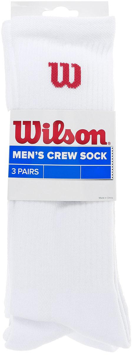 Носки мужские Wilson Crew Sock, цвет: белый, 3 пары. WRA510700. Размер универсальныйWRA510700Мужские носки для тенниса Wilson Crew Sock изготовлены из высококачественного эластичного хлопка с добавлением полиэстера и нейлона. Удлиненные носки имеют эластичную резинку, которая надежно фиксирует носки на ноге. Модель оформлена небольшим логотипом бренда. В комплект входят 3 пары носков.