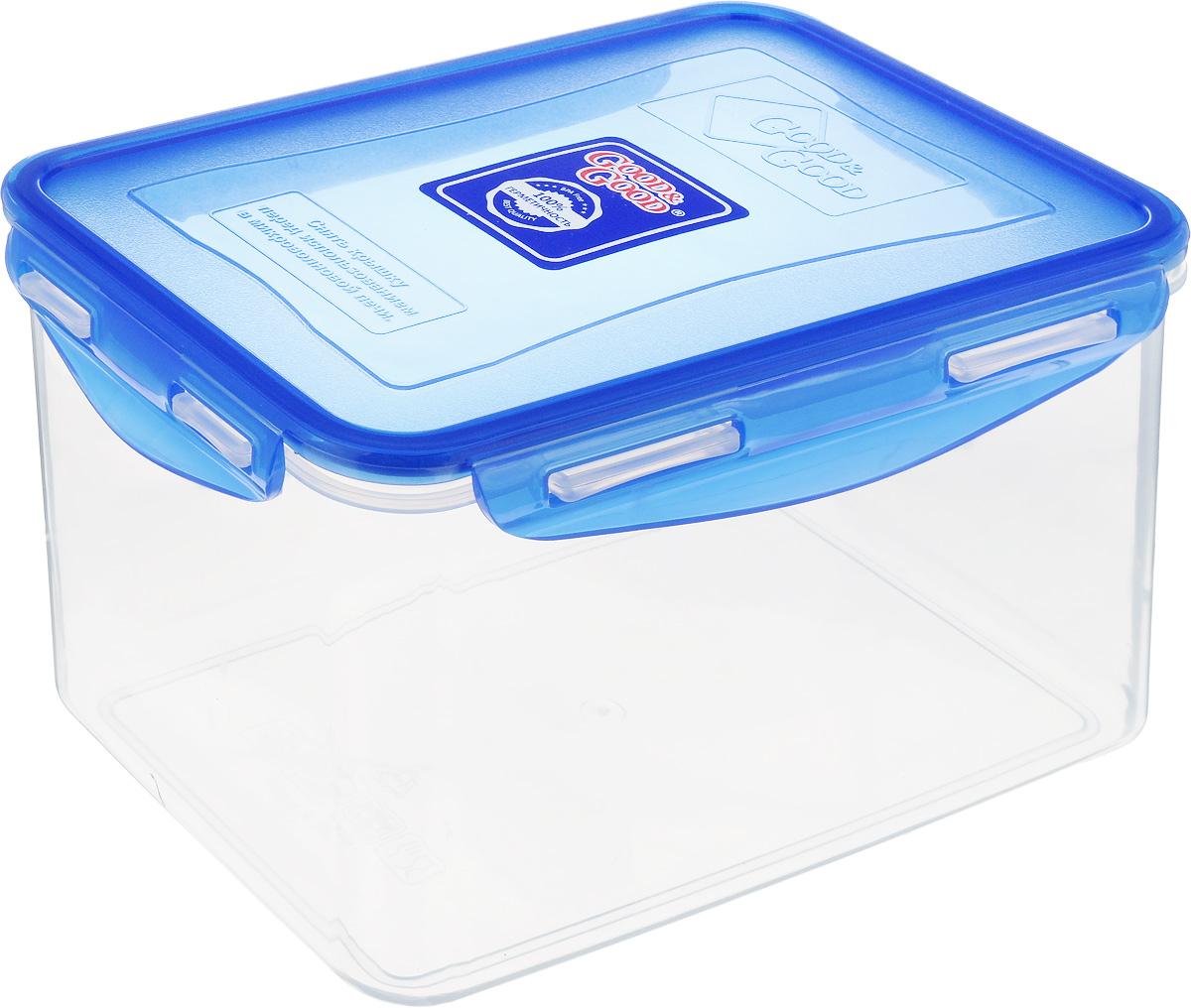 Контейнер пищевой Good&Good, цвет: прозрачный, синий, 2,2 л3-3/LIDCOL_прозрачный, синийПрямоугольный контейнер Good&Good изготовлен из высококачественного полипропилена и предназначен для хранения любых пищевых продуктов. Благодаря особым технологиям изготовления, лотки в течение времени службы не меняют цвет и не пропитываются запахами. Крышка с силиконовой вставкой герметично защелкивается специальным механизмом. Контейнер Good&Good удобен для ежедневного использования в быту.Можно мыть в посудомоечной машине и использовать в микроволновой печи.Размер контейнера (с учетом крышки): 20 х 13,5 х 13 см.
