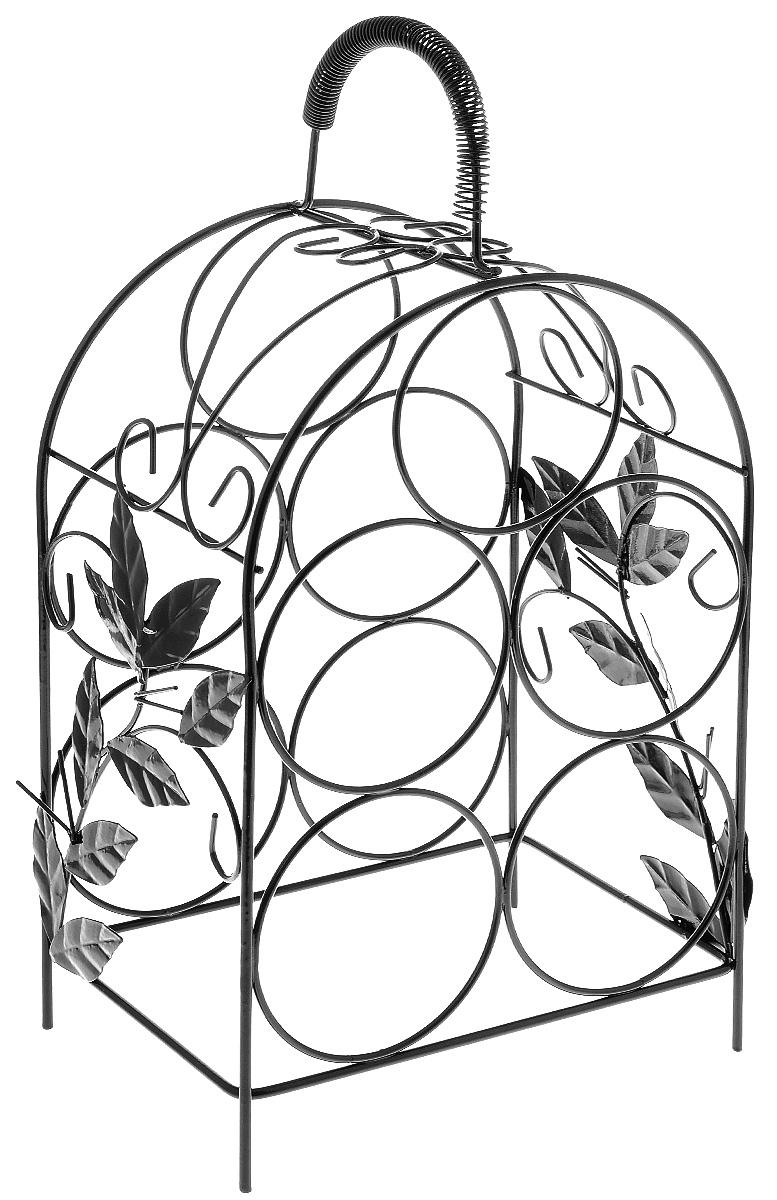 """Настольная подставка для бутылок Magic Home """"Виноградная лоза"""", изготовленная из металла, предназначена для хранения бутылок и выполнена в виде красиво изогнутых металлических прутьев. Подставка для хранения бутылок Magic Home """"Виноградная лоза"""" - это отличный способ организовать пространство. Изделие оснащено удобной ручкой. Оригинальный дизайн изделия идеально впишется в интерьер любой кухни.Размер подставки: 21 х 15 х 41 см. Количество отделений для бутылок: 5."""