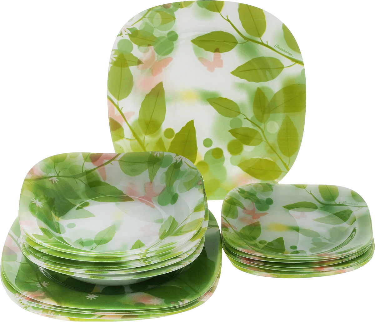 Набор тарелок Pasabahce Butterflies, 18 шт96464BНабор Pasabahce Butterflies состоит из 6 десертных тарелок, 6 глубоких тарелок и 6 обеденных тарелок, выполненных из высококачественного натрий-кальций-силикатного стекла. Изделия предназначены для красивой сервировки различных блюд. Набор сочетает в себе изысканный дизайн с максимальной функциональностью. Размер десертной тарелки: 18,5 х 18,5 см.Высота десертной тарелки: 2 см.Размер обеденной тарелки: 26 х 26 см.Высота обеденной тарелки: 2 см.Размер глубокой тарелки: 21 х 21 см.Высота глубокой тарелки: 3,5 см.