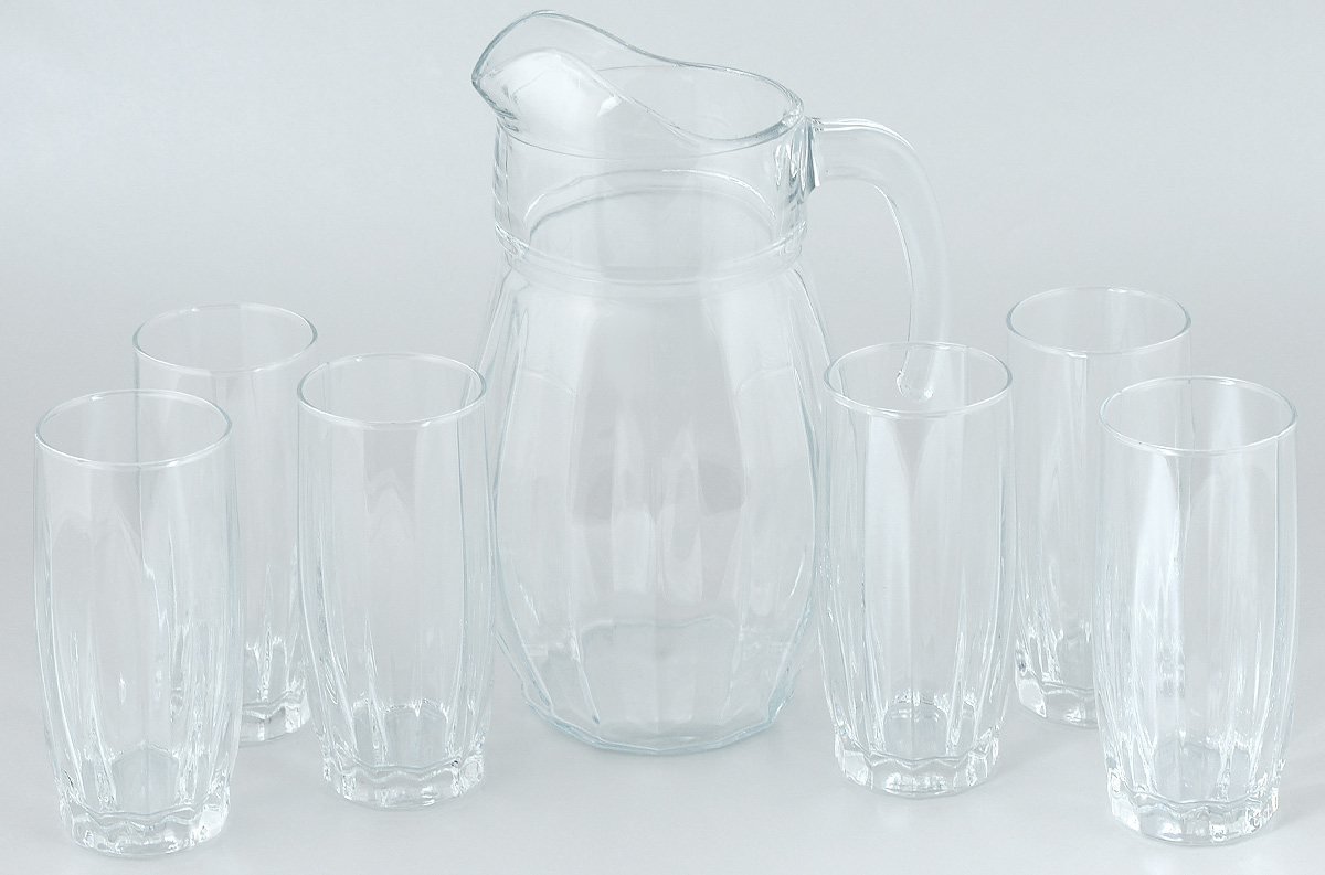 Набор для воды Pasabahce Dance, 7 предметов97874BНабор Pasabahce Dance состоит из шести стаканов и кувшина, выполненных из прочного натрий-кальций-силикатного стекла. Предметы набора предназначены для воды, сока и других напитков. Изделия сочетают в себе элегантный дизайн и функциональность. Благодаря такому набору пить напитки будет еще вкуснее.Набор для воды Pasabahce Dance прекрасно оформит праздничный стол и создаст приятную атмосферу. Такой набор также станет хорошим подарком к любому случаю. Объем графина: 1,7 л. Высота графина: 24,5 см. Объем стакана: 320 мл. Высота стакана: 14 см.