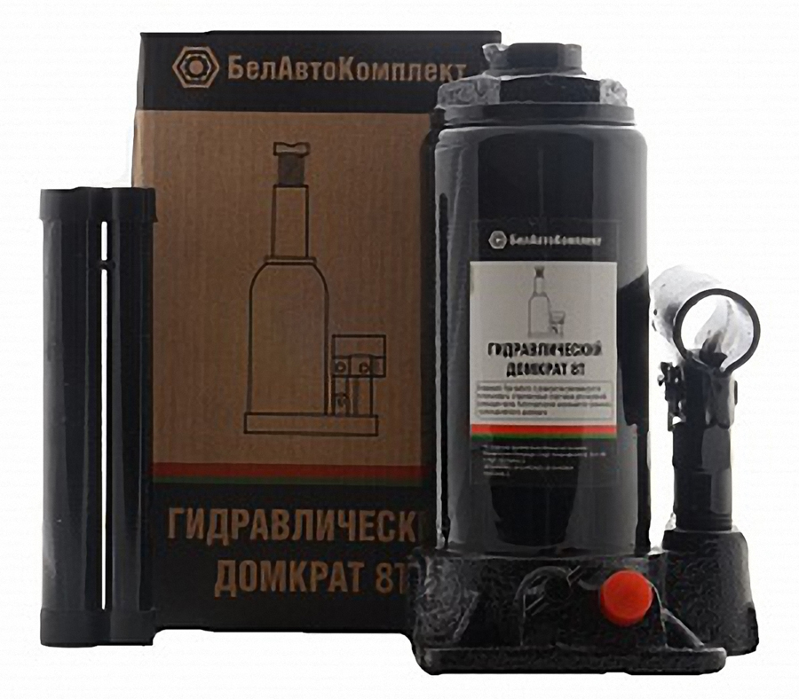 Домкрат бутылочный БелАвтоКомплект, с двумя клапанами, 8 т домкрат белак бак 00038 50т