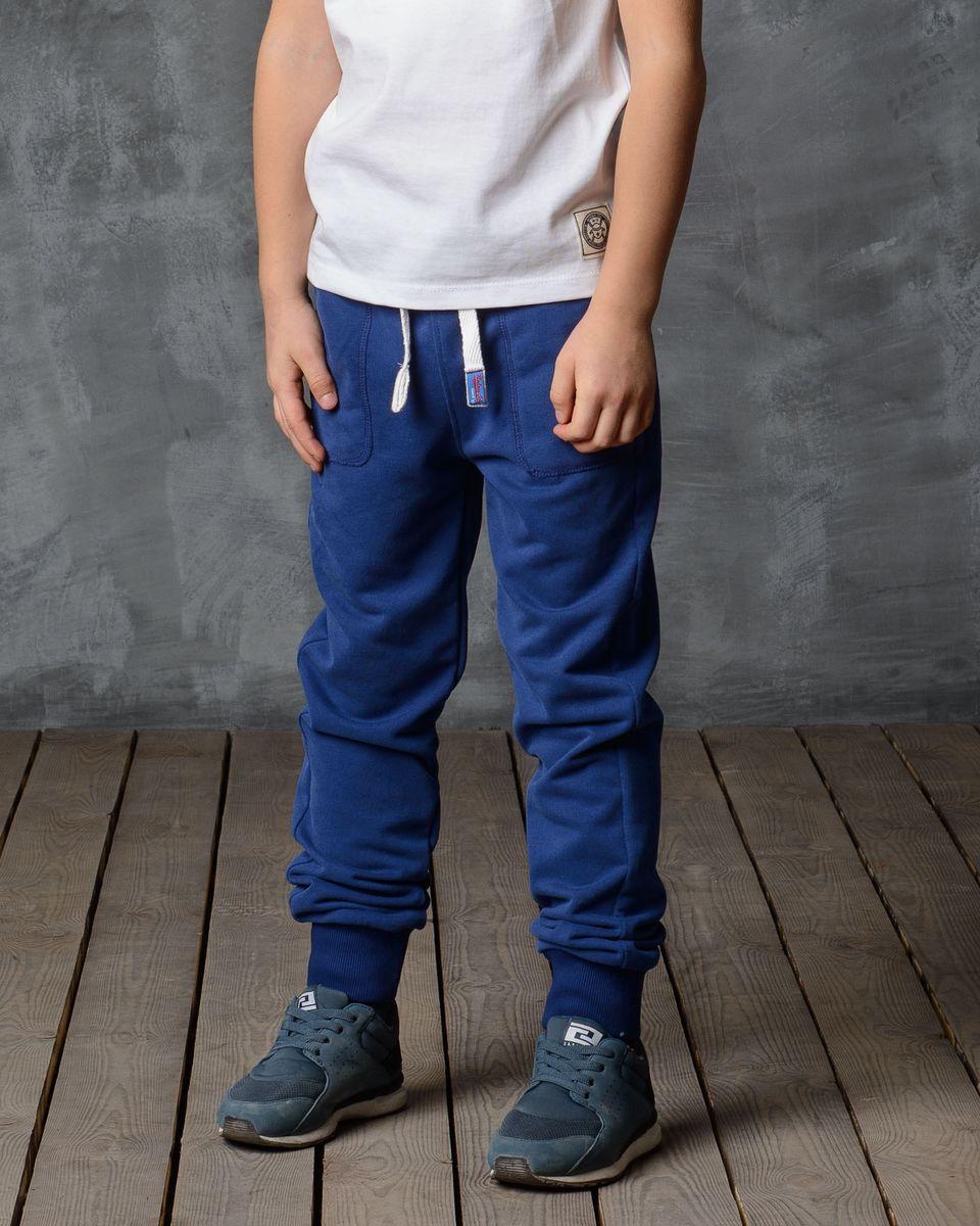 Брюки спортивные для мальчика Modniy Juk, цвет: синий. 15В00080700. Размер 122/128 лонгслив для мальчика modniy juk цвет хаки белый 02в00020100 размер 128 134