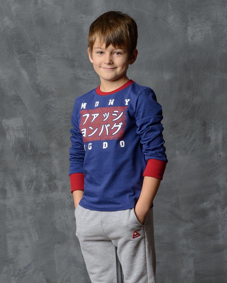Лонгслив для мальчика Modniy Juk, цвет: темно-синий. 02В00030100_JUDO. Размер 98/104 лонгслив для мальчика modniy juk цвет хаки белый 02в00020100 размер 128 134