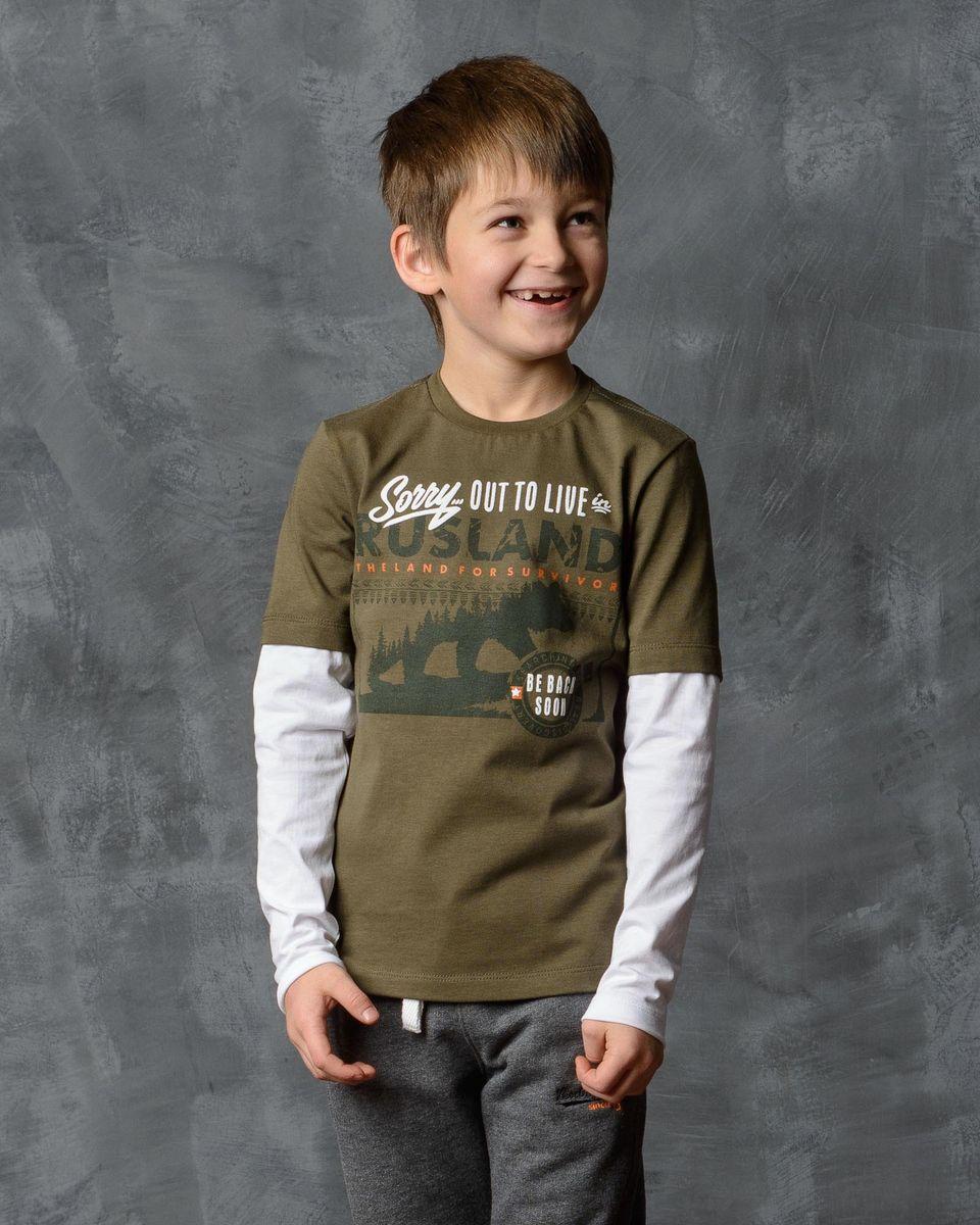 Лонгслив для мальчика Modniy Juk, цвет: хаки, белый. 02В00020100. Размер 128/134 лонгслив для мальчика modniy juk цвет хаки белый 02в00020100 размер 128 134