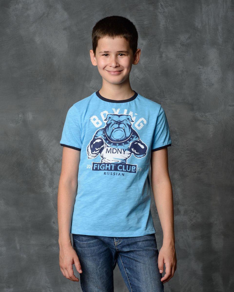 Футболка для мальчика Modniy Juk, цвет: голубой. 01В00120100/BOXING_BULDOG. Размер 92 джемперы modniy juk джемпер