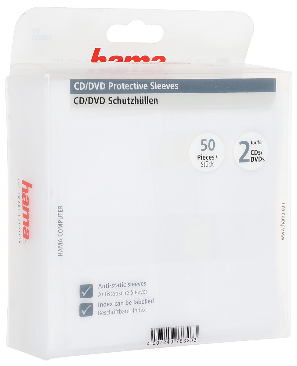 Конверты для 2 CD/DVD Hama H-78323, White hama h 108736 white