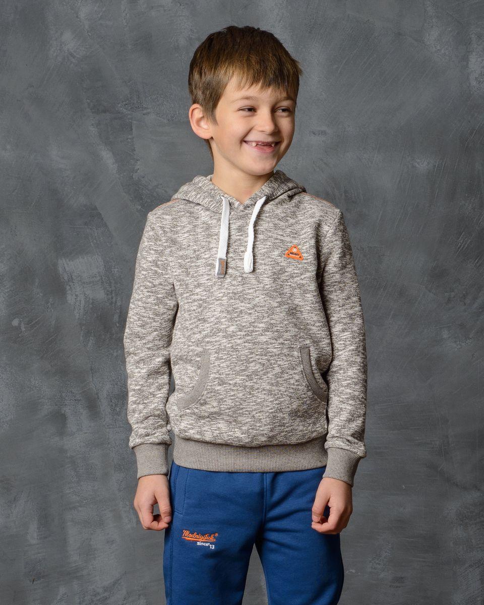 Толстовка для мальчика Modniy Juk, цвет: экрю, коричневый. 25В00030500. Размер 36 (128) лонгслив для мальчика modniy juk цвет хаки белый 02в00020100 размер 128 134
