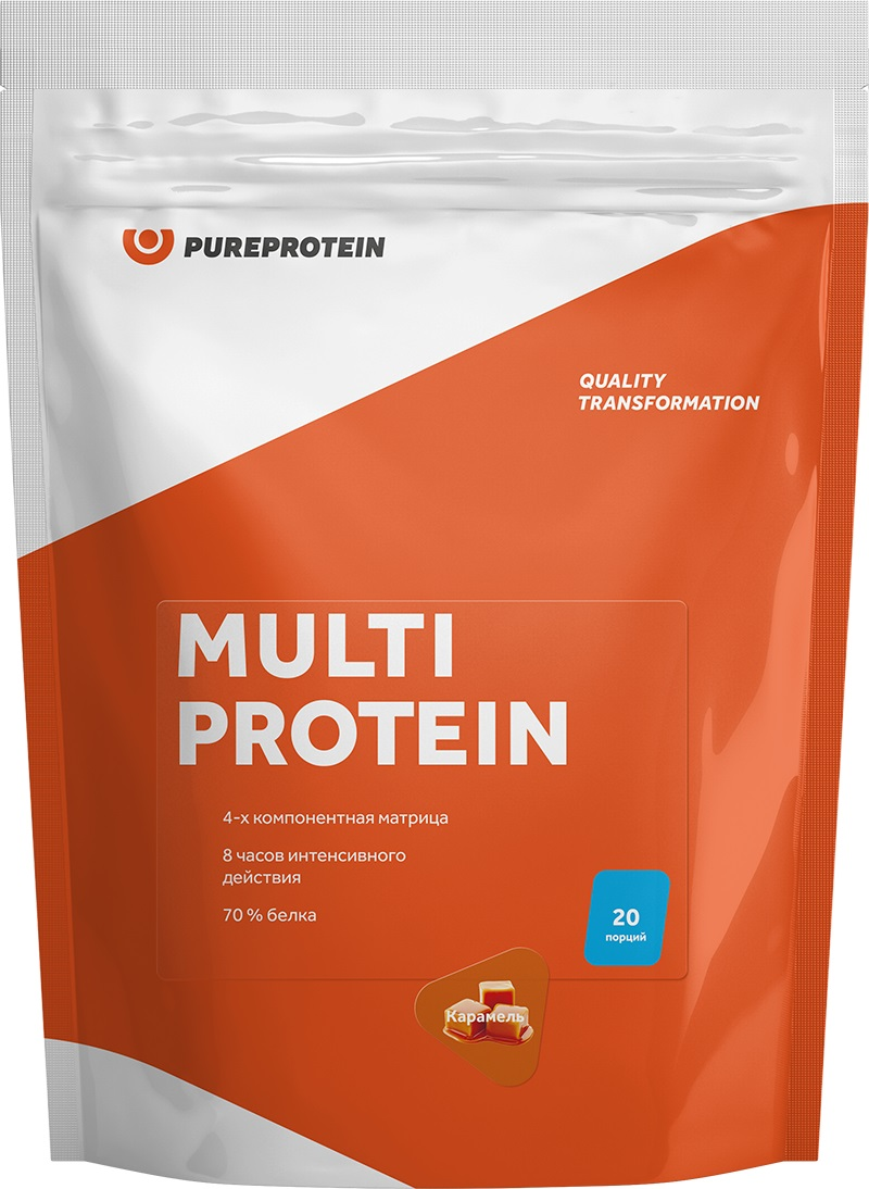 Протеин Pure Protein Multi Protein, сливочная карамель, 600 г4115198Белковая матрица Multi Protein состоит из 4-х источников белка: молочной сыворотки, мицеллярного казеина, яичного альбумина и соевого изолята. За счет этого Multi Protein имеет идеальный аминокислотный профиль, который будет интенсивно питать ваши мышцы в течение 8 часов с момента приема.Ключевым преимуществом продукта является его универсальность. Его можно принимать когда угодно: до/после тренировки, между приемами пищи или перед сном. Несомненно, Multi Protein от Pureprotein огромная находка для спортсменов и любителей фитнеса. Рекомендации по применению: Смешайте в шейкере 1 порцию (30 г) со 150-200 мл молока, воды или другого напитка. Принимайте продукт в любое время при возникновении голода или потребности в белке. Состав: сбалансированная белковая матрица (концентрат сывороточного белка (60%), яичный белок (20%), концентрат молочных белков (10%), изолят соевого белка (10%)), фруктоза, декстроза, пищевой ароматизатор, ксантановая камедь (эмульгатор), сукралоза (подсластитель), пищевой красительКак повысить эффективность тренировок с помощью спортивного питания? Статья OZON Гид