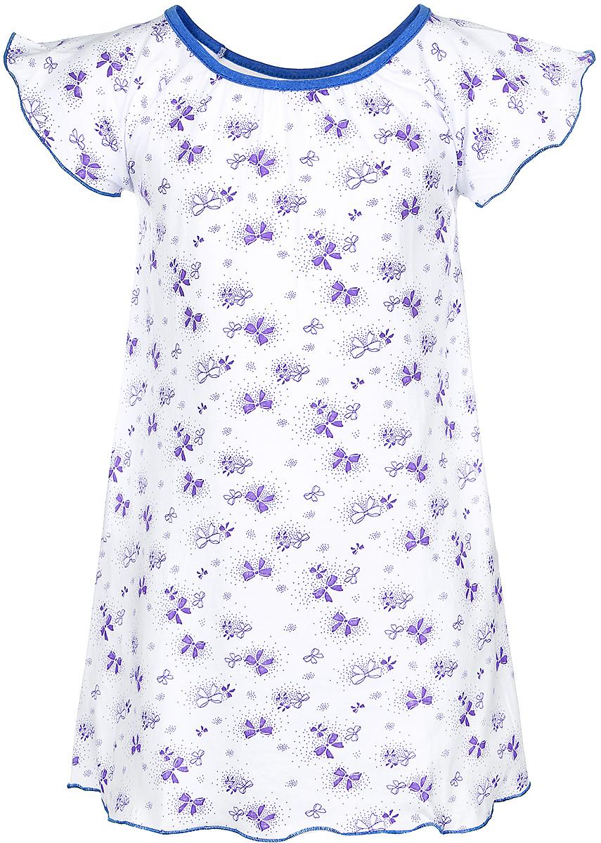 Ночная рубашка для девочек M&D, цвет: белый, фиолетовый. С8010301. Размер 116С8010301Ночная сорочка для девочки M&D выполнена из натурального хлопка. Модель прямого кроя с круглым вырезом горловины и короткими рукавами-крылышками оформлена принтом с изображением бантиков. Вырез горловины дополнен бейкой контрастного цвета.