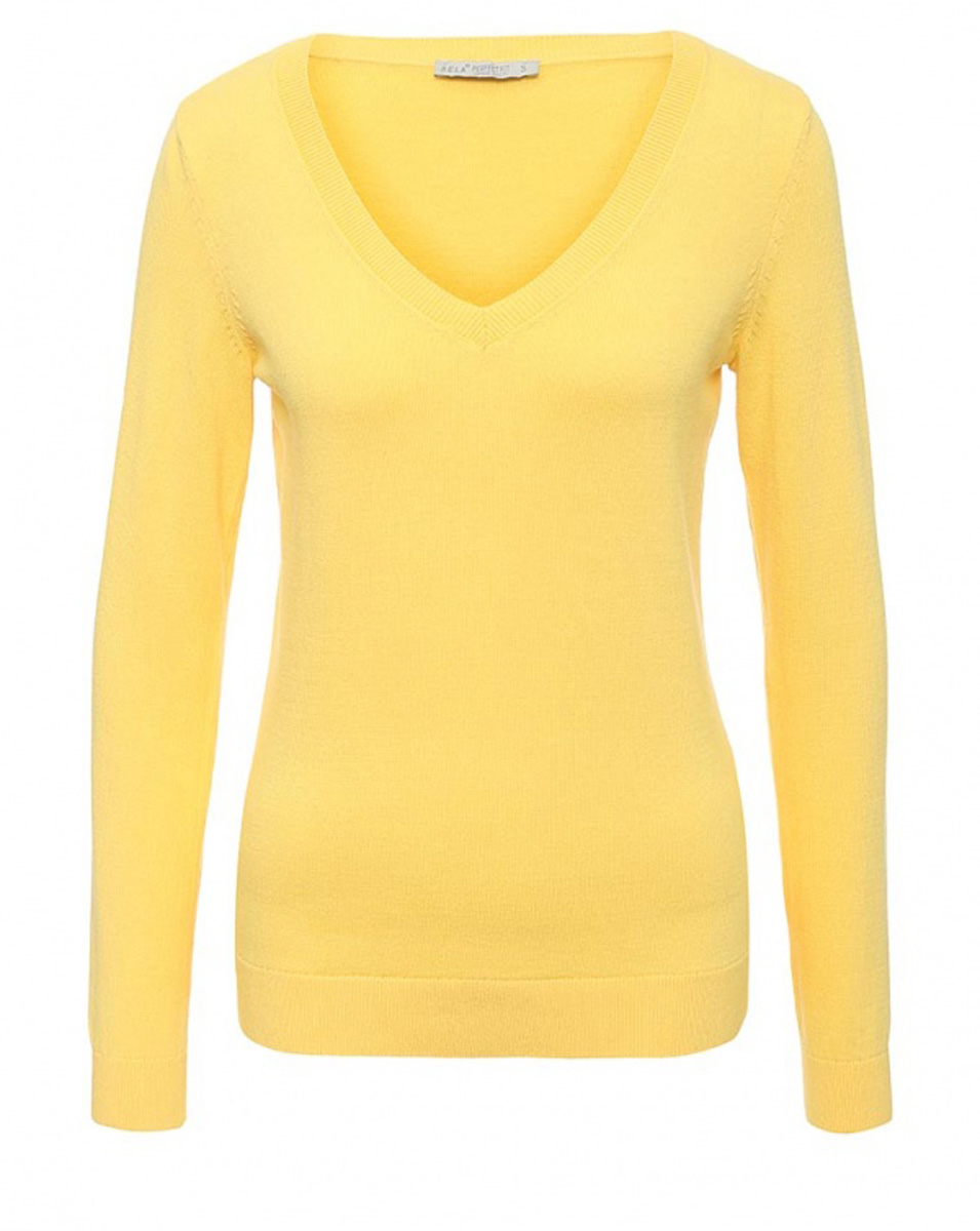 Пуловер женский Sela, цвет: желтый. JR-114/2022-7181. Размер L (48)JR-114/2022-7181Женский пуловер Sela выполнен из натурального хлопка мелкой вязки. Модель приталенного кроя с V-образным вырезом горловины подойдет для офиса, прогулок и дружеских встреч и будет отлично сочетаться с джинсами и гармонично смотреться с юбками. Воротник, манжеты рукавов и низ изделия связаны резинкой.