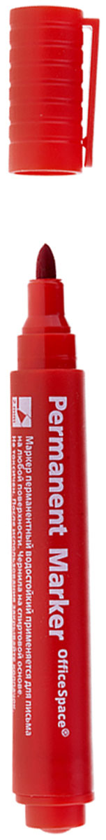 OfficeSpace Маркер перманентный цвет красныйPM_272Перманентный маркет OfficeSpace подходит для письма на любых поверхностях. Чернила на спиртовой основе. Плотный колпачок с клипом надежно предотвращает высыхание. Цвет колпачка соответствует цвету чернил. Пулевидный пишущий узел. Ширина линии 2 мм.