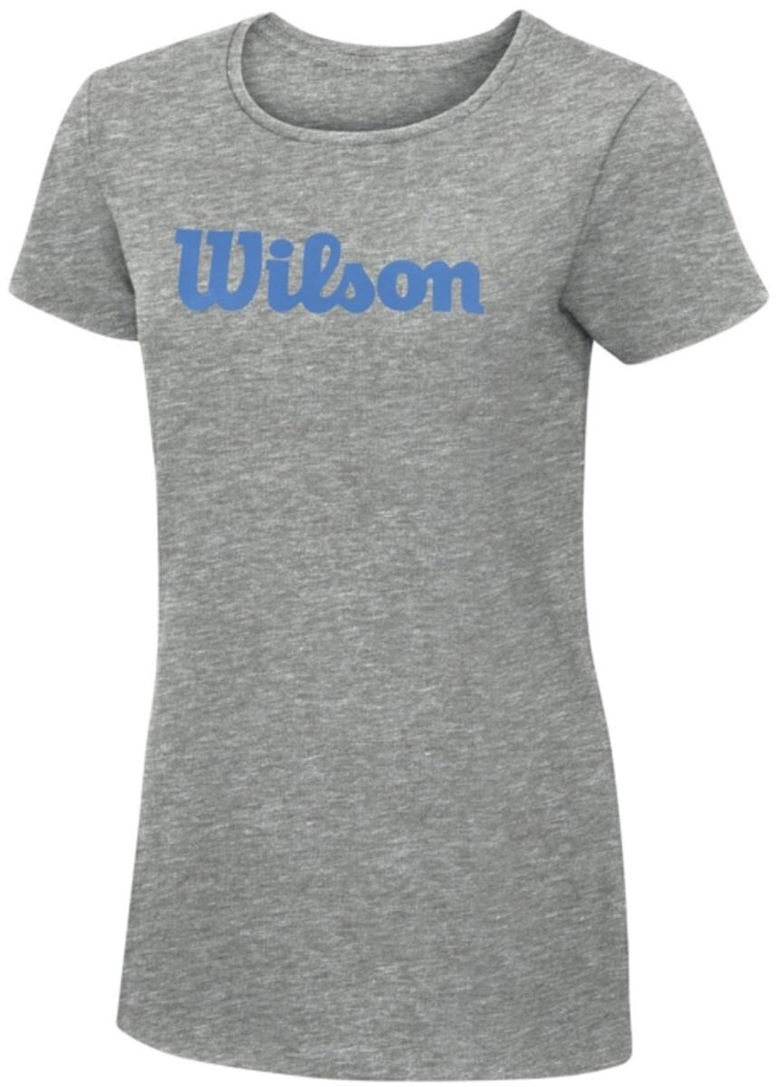 Футболка для тенниса женская Wilson Script Cotton Tee, цвет: серый. WRA758202. Размер M (46)WRA758202Тренировочная футболка с логотипом Wilson. Спортивный крой для оптимального комфорта. Модель выполнена с круглой горловиной и короткими рукавами.