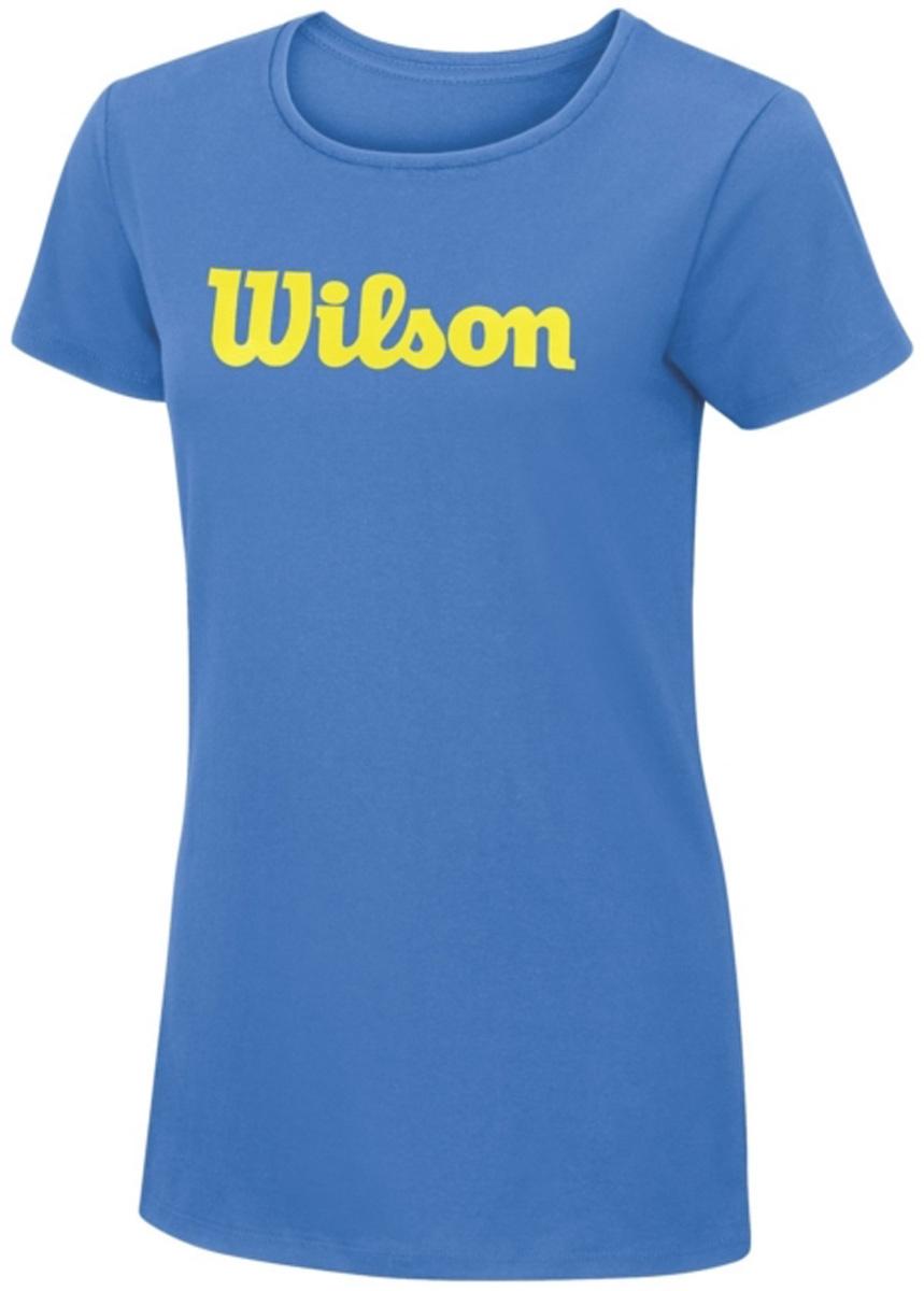 Футболка для тенниса женская Wilson Script Cotton Tee, цвет: голубой. WRA758201. Размер M (46)WRA758201Тренировочная футболка с логотипом Wilson. Спортивный крой для оптимального комфорта. Модель выполнена с круглой горловиной и короткими рукавами.
