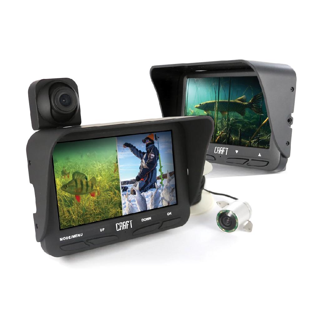 """Камера подводная Craft Fish Eye 110 R, 2 камеры, запись97298Если говорить о строении подводной камеры, то в целом оно очень похоже на строение обычного """"сухопутного"""" аппарата. Отличительной особенностью являетсяналичие ИК-подсветки. Модель FishYEY 110R имеет в своем арсенале6 светодиодов.Чтобы охарактеризовать данную камеру, обратимся к рассмотрению нескольких принципиальных параметров.Прежде всего, это угол восприятия. Конечно, чем этот показатель выше, тем лучше камера будет выполнять свои функции. Модель FishYEY 110R имеет2 камеры: переднюю с углом обзора в 120 градусов, и подводную - 140. К слову, камера предлагают съемку в формате HD, что также является принципиальным параметром при характеристике устройства.Экран устройств -4,3 дюйма TFT LCD (480*272). Нужно обратить внимание на такую характеристику, как возможность записи. Модель FishYEY 110 может передавать реальную картинку, в то время как FishYEY 110R записывает изображение на внутренний или внешний накопитель. Также камера оснащена микрофоном.Видео записывается в высоком разрешении: для передней камеры это1280*720 (30 кадр/сек), для подводной - 640*480 (30 кадр/сек). Если говорить о фото, то параметр передней камеры - 3 Мп подводной - 2 Мп. Кстати, модель FishYEY 110R имеет функцию разделения экрана, которая обеспечивает просмотр изображений с двух камер одновременно. При этом камера оснащена слотом под карту памяти максимум на 32 Гб, что позволит вам не беспокоиться об отсутствии свободного места для записи.Оптимальная глубина для погружения камеры - в пределах 20 метров (как раз такой длины кабель идет в комплекте).Немаловажны показатели, касающиеся работы аккумулятора. МодельFishYEY 110R рассчитана на4,5 часа работы. В комплекте 2 литий-ионных аккумулятора 2200 мАч (последовательное соединение).Габариты камер невелики: FishYEY 110R - 125*110*60 (при весе в 320 г).Рабочая температура устройств от -20 до +60.Очевидно, что камера водонепроницаема. И конечно же, имеет русифицированный интерфейс.Помимо кабе"""