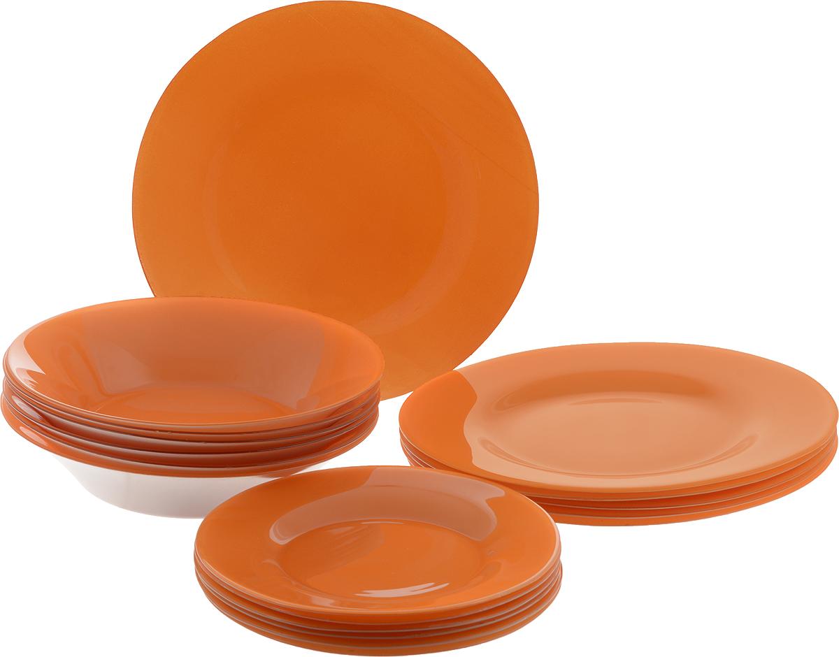 Набор тарелок Pasabahce Village, цвет: оранжевый, 18 шт95401/D15Набор Pasabahce Village состоит из 6 десертных тарелок, 6 глубоких тарелок и 6 обеденных тарелок, выполненных из высококачественного натрий-кальций-силикатного стекла. Изделия предназначены для красивой сервировки различных блюд. Набор сочетает в себе изысканный дизайн с максимальной функциональностью. Диаметр десертной тарелки: 19,3 см.Высота десертной тарелки: 1,8 см.Диаметр обеденной тарелки: 26 см.Высота обеденной тарелки: 2 см.Диаметр глубокой тарелки: 22 см.Высота глубокой тарелки: 4,8 см.