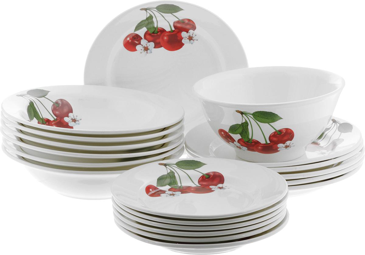 Набор посуды Кубаньфарфор Вишенка, 19 предметов075