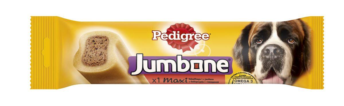 Лакомство для собак Pedigree Jumbone Maxi, с говядиной, 210 г10223Вкусное жевательное лакомство Pedigree Jumbone Maxi доставит вашему питомцу удовольствие и позаботится о его здоровье. Лакомство представляет собой большую косточку с натуральным вкусом говядины. В состав лакомства входят витамины и микроэлементы, которые помогут поддерживать зубы, кожу и шерсть вашей собаки в отличном состоянии. Не содержит искусственных красителей и ароматизаторов.Характеристики: Состав: злаки, продукты растительного происхождения, сахара, мясо и субпродукты (в том числе 4% говядины), минералы, растительные белковые экстракты, масла и жиры, семена и травы. Пищевая ценность на 100 г: белок - 7 г, жир - 1,5 г, зола - 4 г, клетчатка - 2,5 г, влажность - 15 г, кальций 0,6 г, омега 3 жирные кислоты - 56,7 мг, Витамин А - 503МЕ, Витамин Е - 5,04 мг, сульфат железа - 4,67 мг.Энергетическая ценность на 100 г: 298 ккал.Вес: 210 г.Товар сертифицирован.Тайная жизнь домашних животных: чем занять собаку, пока вы на работе. Статья OZON Гид