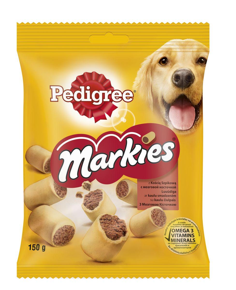 Лакомство для собак Pedigree Markies, с мозговой косточкой, 150 г10224Лакомство для собак Pedigree Markies подходит в качестве дополнения к основному корму. Собаки средних размеров, например, кокер-спаниель не более 8 штук в неделю. Собаки крупных размеров, например, лабрадор не более 16 штук в неделю. Состав: злаки, продукты растительного происхождения, мясо и субпродукты (включая 4% мозговой косточки и 4% мяса), сахара, жиры и масла, минералы, белковые растительные экстракты, семена и травы. Пищевая ценность (100 г): белки - 14,3 г; жиры - 13 г; зола - 9,25 г; клетчатка - 2,5 г; влага - 9,5 г; кальций - 1,6 г; омега-6 жирные кислоты - 53,7 мг; витамин А - 796,9 МЕ; витамин Е - 7,97 мг; сульфат железа - 7,28 мг. Энергетическая ценность (100 г): 361 ккал. Товар сертифицирован.Тайная жизнь домашних животных: чем занять собаку, пока вы на работе. Статья OZON Гид