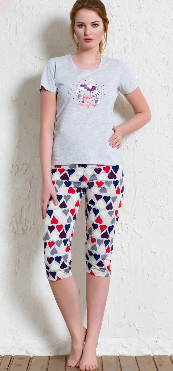 Костюм домашний женский Vienetta's Secret Сердечки: футболка, бриджи, цвет: серый меланж, мультиколор. 602089 5686. Размер XL (50) пижамы diadora домашний костюм