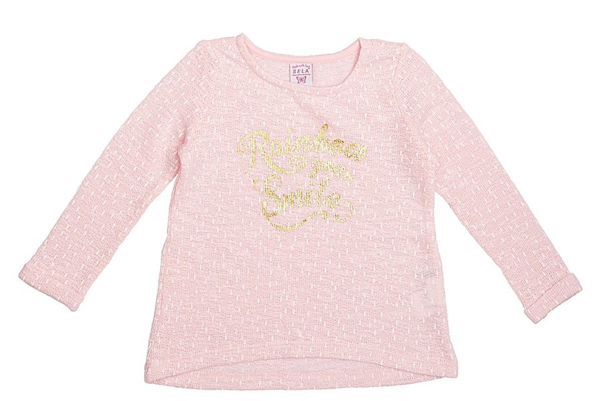 Свитшот для девочки Sela, цвет: светло-розовый. St-513/072-7121. Размер 104, 4 годаSt-513/072-7121Стильный свитшот для девочки Sela выполнен из качественного трикотажа и оформлен яркой надписью. Модель слегка расклешенного кроя подойдет для прогулок и дружеских встреч и будет отлично сочетаться с джинсами и разными брюками. Мягкая ткань на основе хлопка и полиэстера комфортна и приятна на ощупь.