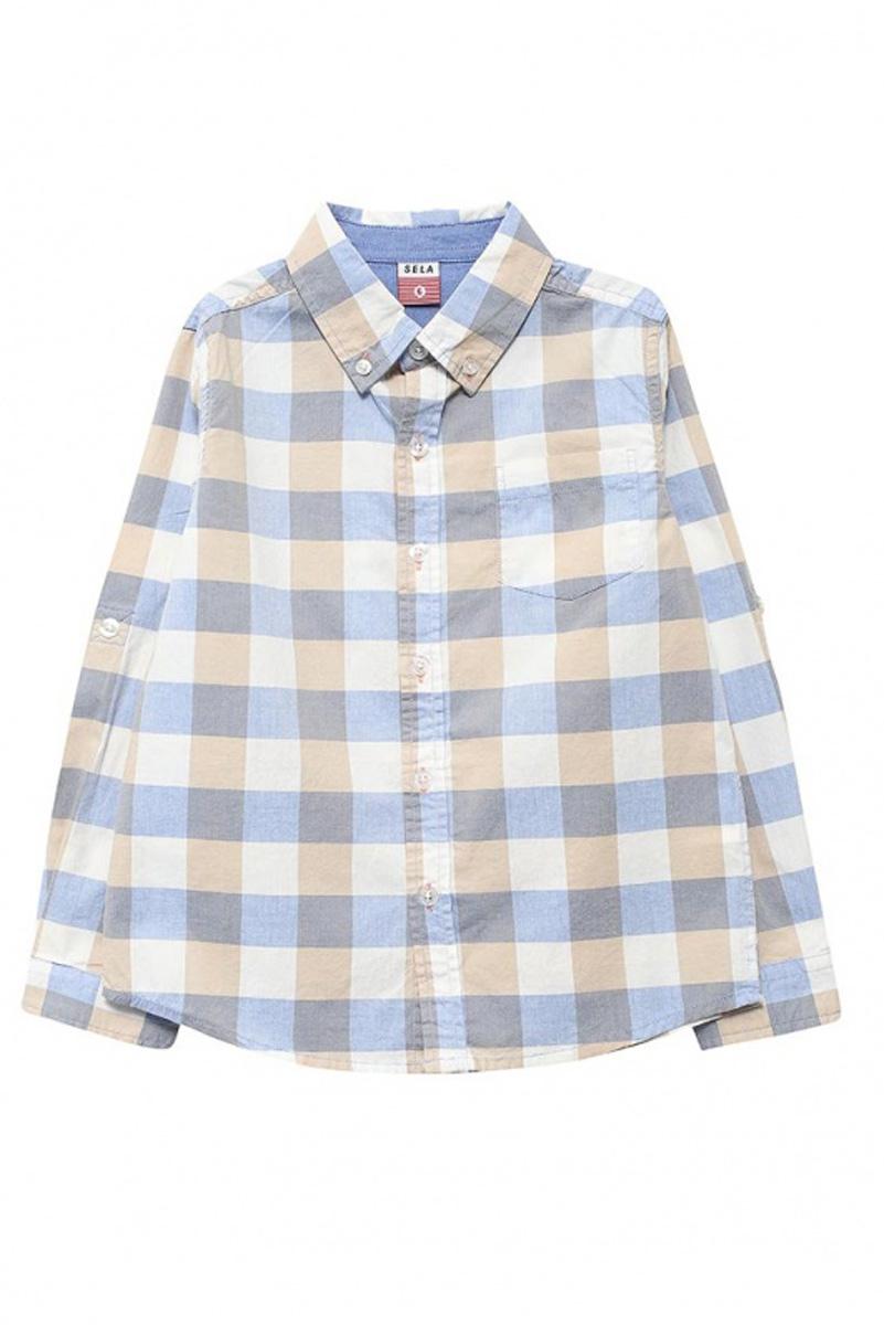 Рубашка для мальчика Sela, цвет: деним. H-712/064-7112. Размер 116H-712/064-7112Стильная рубашка для мальчика Sela выполнена из натурального хлопка и оформлена принтом в крупную клетку. Модель прямого кроя с длинными рукавами и отложным воротничком застегивается на пуговицы и дополнена накладным карманом на груди. Манжеты рукавов и воротничок также дополнены пуговицами. Рукава можно подвернуть и зафиксировать при помощи хлястиков на пуговицах.