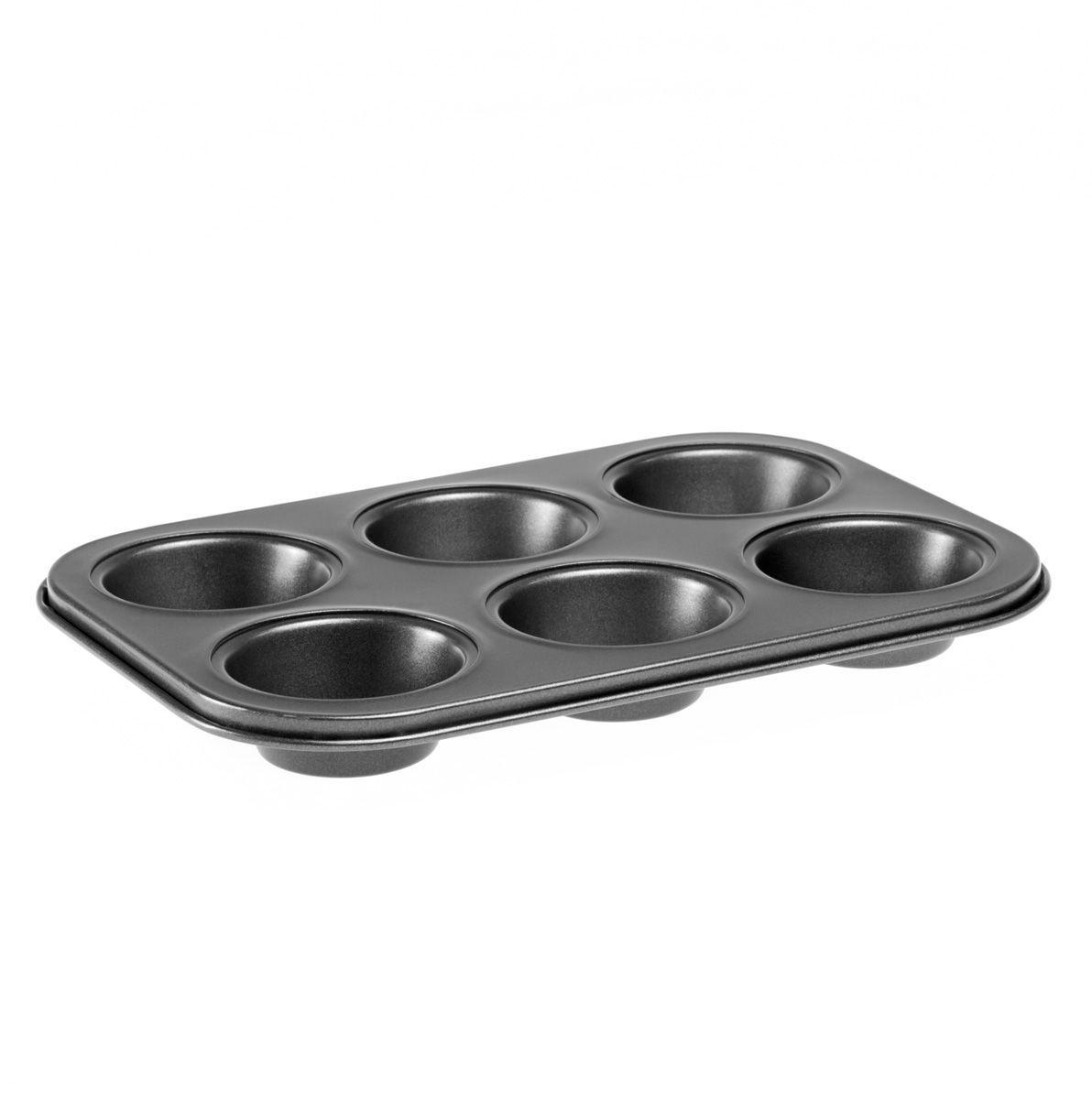 """Форма для кексов и маффинов """"MOULINvilla"""", состоящая из 6 ячеек, выполнена из утолщенной углеродистой стали, обладающей большой износостойкостью и надежностью.Технология антипригарного покрытия """"Goldflon"""" способствует оптимальному распределению тепла. Форму легко чистить и мыть. Можно мыть в посудомоечной машине."""