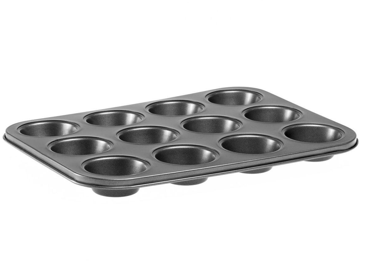 Форма для выпечки MoulinVilla, с антипригарным покрытием, 12 ячеек, 35 х 26,5 х 3 смBWM-012Форма для кексов и маффинов MOULINvilla, состоящая из 12 ячеек, выполнена из утолщенной углеродистой стали, обладающей большой износостойкостью и надежностью.Технология антипригарного покрытия Goldflon способствует оптимальному распределению тепла. Форму легко чистить и мыть. Можно мыть в посудомоечной машине.