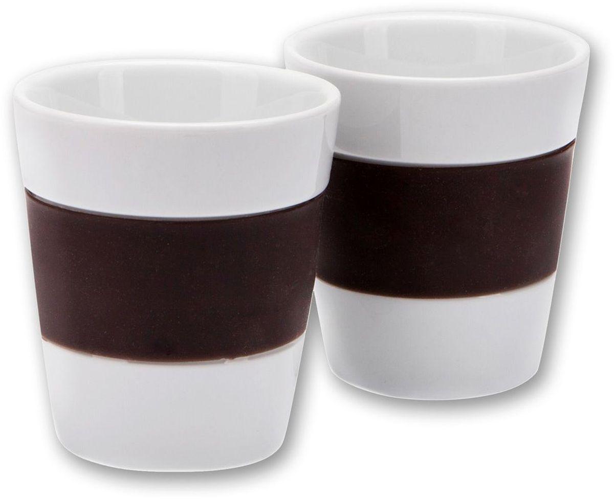 Набор стаканов MoulinVilla, цвет: коричневый, 300 мл, 2 штLIV-3000BRНабор из 2 фарфоровых стаканов с силиконом 300 мл коричневый.