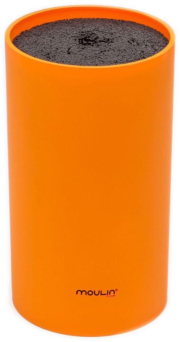 Подставка для ножей MoulinVilla, цвет: оранжевый, 9 х 9 х 16 см подставка для ножей winner подставка для ножей