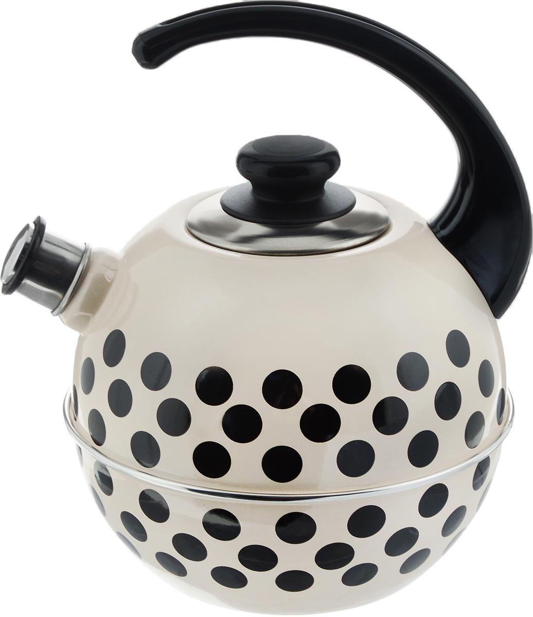 Чайник эмалированный Рубин  Горох , со свистком, цвет: слоновая кость, черный, 3,5 л - Посуда для приготовления