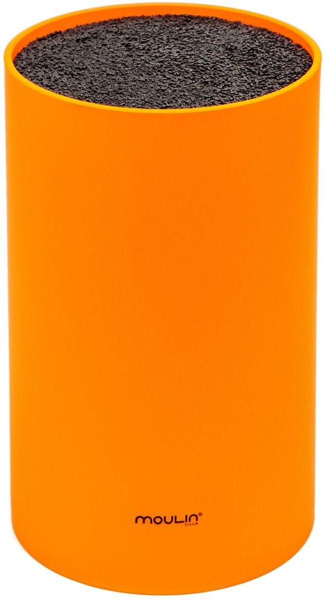 Подставка для ножей MoulinVilla, цвет: оранжевый, 11 х 11 х 18 см подставка для ножей универсальная moulinvilla stn 1g