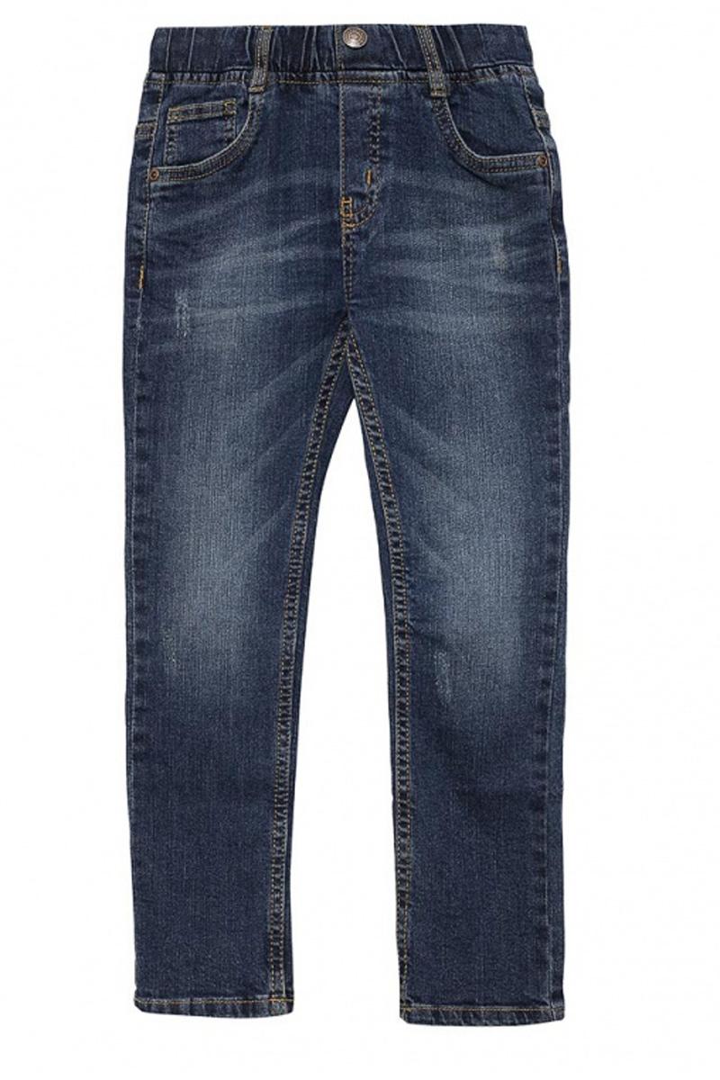 Джинсы для мальчика Sela Denim, цвет: синий джинс. PJ-735/054-7131. Размер 98, 3 годаPJ-735/054-7131Стильные джинсы для мальчика Sela выполнены из качественного эластичного хлопка с эффектом потертостей. Джинсы зауженного кроя и стандартной посадки на талии имеют широкий пояс на мягкой резинке, дополненный шлевками для ремня. Изделие оформлено имитацией ширинки и декоративной пуговицей. Модель представляет собой классическую пятикарманку: два втачных и один маленький накладной кармашек спереди и два накладных кармана сзади.