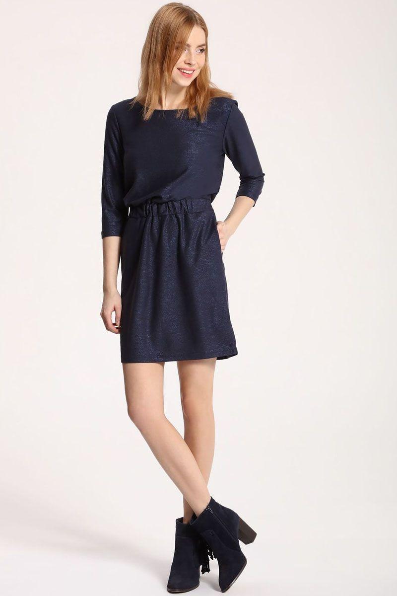 Платье Top Secret, цвет: темно-синий. SSU1759GR. Размер 40 (48)SSU1759GRПлатье Top Secret выполнено из вискозы и полиэстера. Модель с круглым вырезом горловины и рукавами 3/4.