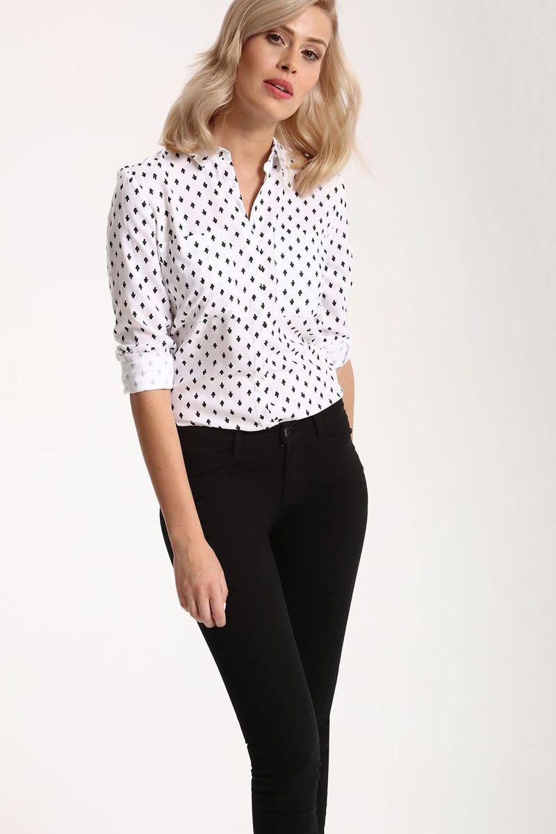 Рубашка женская Top Secret, цвет: белый. SKL2212BI. Размер 42 (50)SKL2212BIРубашка женская Top Secret выполнена из 100% вискозы. Модель с отложным воротником застегивается на пуговицы.