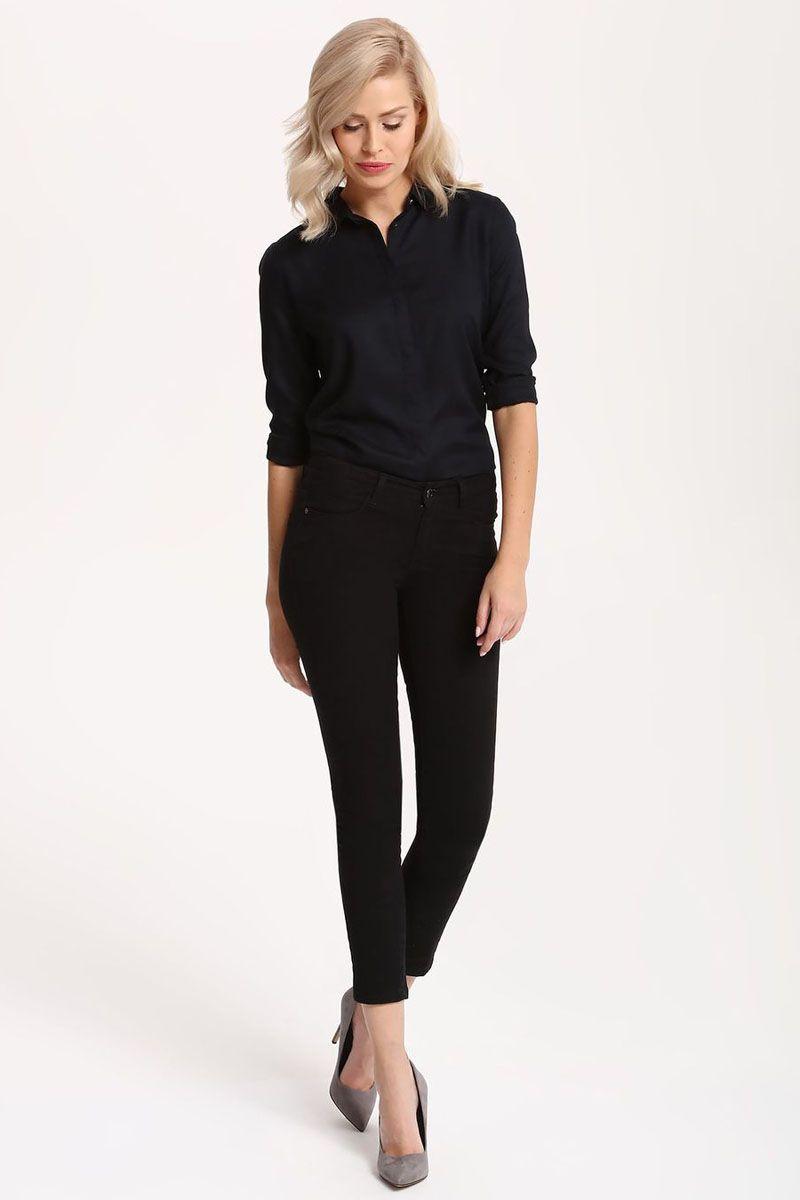 Рубашка женская Top Secret, цвет: темно-синий. SKL2215GR. Размер 38 (46)SKL2215GRРубашка женская Top Secret выполнена из 100% вискозы. Модель с отложным воротником застегивается на пуговицы.