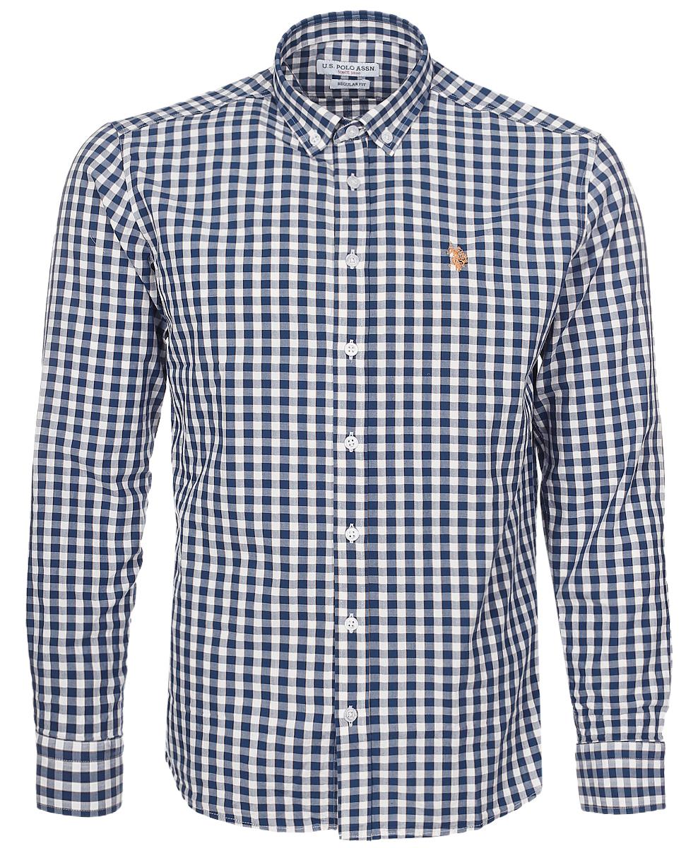 Рубашка мужская U.S. Polo Assn., цвет: темно-синий, белый. G081GL004AVILEMENIKE16K_VR033. Размер M (50)G081GL004AVILEMENIKE16K_VR033Мужская рубашка U.S. Polo Assn. выполнена из натурального хлопка. Рубашка с длинными рукавами и отложным воротником застегивается на пуговицы спереди. Манжеты рукавов также застегиваются на пуговицы. Рубашка оформлена принтом в клетку. На груди модель украшена небольшой вышивкой с логотипом бренда.