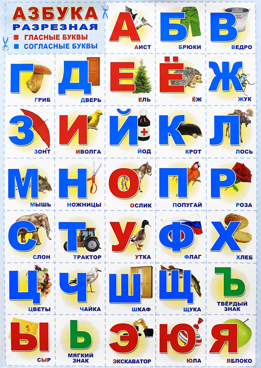 Азбука разрезная. Гласные буквы. Согласные буквы. Плакат обучающие плакаты алфея плакат азбука и счет разрезная