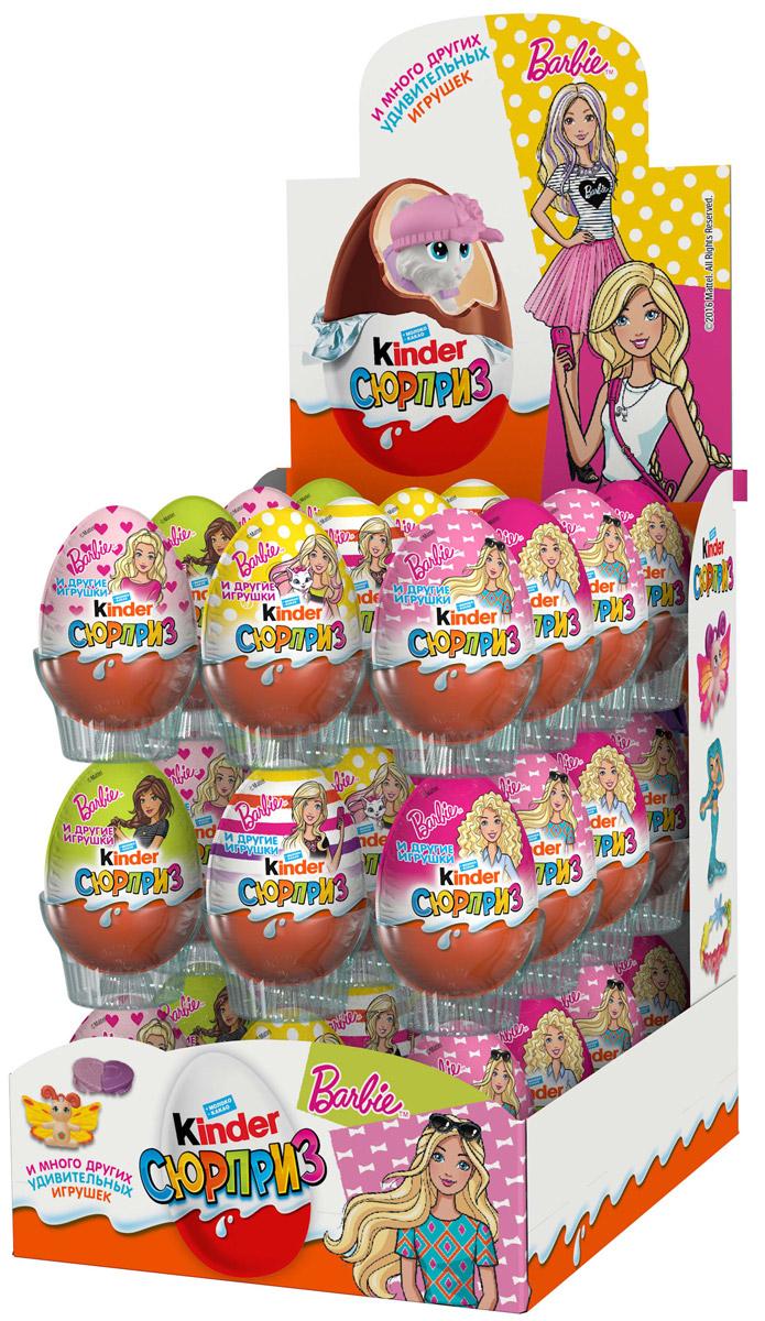 Kinder Сюрприз Barbie яйцо из молочного шоколада c молочным внутренним слоем и игрушкой внутри, 36 шт по 20 г цена