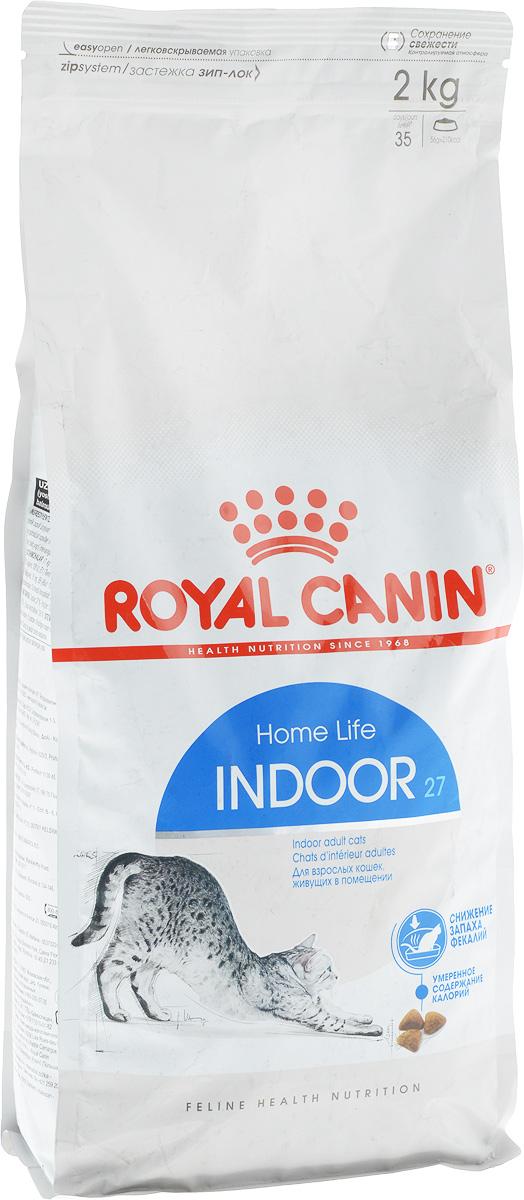Корм сухой Royal Canin Indoor 27, для кошек в возрасте от 1 года до 7 лет, живущих в помещении, для ослабления запаха фекалий, 2 кг491020-545020Сухой корм Royal Canin Indoor 27 - полнорационное питание для кошек от 1 до 7 лет, живущих в помещении.Кошка, постоянно живущая в помещении, ограничена в движении, поэтому большую часть своего времени она тратит на сон и прием пищи. Низкая активность кошки вызывает вялую работу кишечника и, как следствие, появление жидкого стула с резким неприятным запахом. У домашних кошек повышается риск появления избыточного веса.Ежедневное вылизывание шерсти приводит к образованию волосяных комочков в желудке кошки.Ослабление запаха фекалий.Ослабляет запах фекалий кошки благодаря высокому содержанию L.I.P. Высокоперевариваемый корм Royal Canin Indoor 27 способствует значительному ослаблению запаха стула кошки в результате уменьшения выделения сероводорода - зловонного газа, выделяющегося из фекалий.Умеренное содержание энергии: способствует уменьшению жировых отложений у кошек за счет умеренного содержания калорий и добавления L-карнитина (50 мг/кг). Выведение волосяных комочков: стимулирует кишечный транзит благодаря сочетанию ферментируемой и неферментируемой клетчатки.Состав: кукуруза, дегидратированное мясо домашней птицы, рис, изолят растительного белка, пшеница, животные жиры, гидролизат белков животного происхождения, растительная клетчатка, минеральные вещества, свекольный жом, соевое масло, фруктоолигосахариды, дрожжи, рыбий жир.Добавки (на 1 кг):Витамин А - 14700 МЕ, Витамин D3 - 800 МЕ, Е1 (железо) - 50 мг, Е2 (йод) - 5 мг, Е5 (марганец) - 56 мг, Е6 (цинк) - 194 мг, Селен - 0,11 мг, консервант: сорбат калия, антиоксиданты: пропигаллат, БГА.Товар сертифицирован.