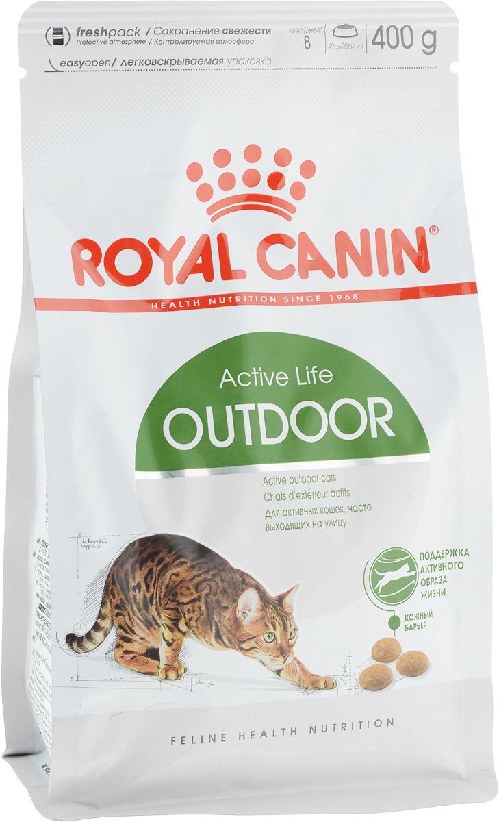 Корм сухой Royal Canin Outdoor 30, для активных кошек, часто бывающих на улице, 400 г494004Сухой корм Royal Canin Outdoor 30 - полнорационное питание для активных кошек в возрасте от 1 до 7 лет, часто бывающих на улице.Кошка, бывающая на улице, обычно ведет активный образ жизни и тратит много энергии, однако вместе с тем она подвержена негативному воздействию многих факторов:Кошка, которая часто выходит на прогулку, подвергается риску инфекционных и паразитарных заболеваний, а также травм при драках, поэтому ей требуется надежная имунная защита.Она расходует много энергии и должна адаптироваться к изменениям температуры окружающей среды. Повышенная активность кошки требует ловкости и крепких суставов.Для поддержания активности.Корм обеспечивает оптимальное потребление энергии, укрепляет естественную защиту организма и поддерживает здоровье суставов кошки, которая сохраняет высокую активность и часто подвергается риску на улице.Укрепление естественной защиты организма: укрепляет естественную защиту организма кошки благодаря присутствию в корме запатентованного антиоксидантного комплекса и неферментируемой клетчатки.Поддержание крепости костей и здоровья суставов: способствует подвижности и функциональности суставов кошки за счет сочетания глюкозамина, хондроитина и жирных кислот (EPA и DHA).Состав: дегидратированное мясо домашней птицы, кукуруза, рис, животные жиры, кукурузный глютен, гидролизат белков животного происхождения, свекольный жом, дрожжи, минеральные вещества, изолят растительного белка, рыбий жир, соевое масло, кокосовое масло, фруктоолигосахариды, гидролизат дрожжей (источник манноолигосахаридов), гидролизат из панциря ракообразных (источник глюкозамина), экстракт бархатцев прямостоячих (источник лютеина), гидролизат из хряща (источник хондроитина). Добавки (на 1 кг):Витамин А – 20700 МЕ, витамин D3 – 1100 МЕ, железо – 42 мг, йод – 3,2 мг, медь – 7 мг, марганец – 54 мг, цинк – 179 мг, селен – 0,07 мг, консерванты, антиоксиданты. Товар сертифицирован.