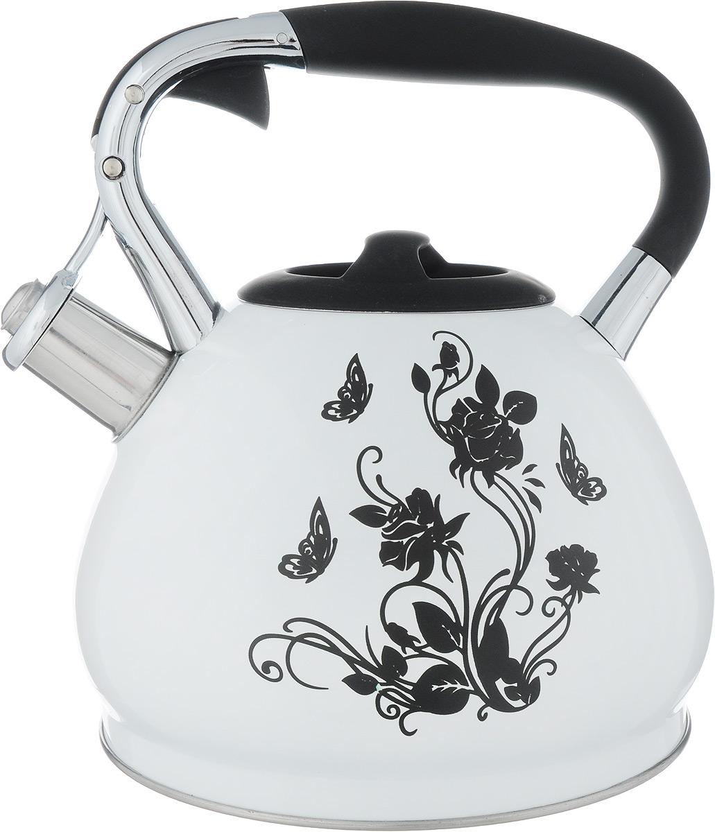 Чайник Bekker Цветок, со свистком, 3 лBK-S594_цветокЧайник Bekker Цветы выполнен из высококачественной нержавеющей стали, что обеспечивает долговечность использования. Внешнее цветное покрытие придает приятный внешний вид. Фиксированная ручка из бакелита с силиконовым покрытием делает использование чайника очень удобным и безопасным. Чайник снабжен свистком и устройством для открывания носика, которое находится на ручке. Изделие оснащено цельнометаллическим дном, что способствует медленному остыванию чайника. Черный рисунок на стенке чайника при достижении температуры 40°С начинает менять окрас на радужные цвета.Подходит для газовых, электрических и стеклокерамических плит, а также индукционных. Можно мыть в посудомоечной машине. Высота чайника (без учета крышки и ручки): 14 см.Высота чайника (с учетом ручки): 24 см.Диаметр (по верхнему краю): 9,5 см.