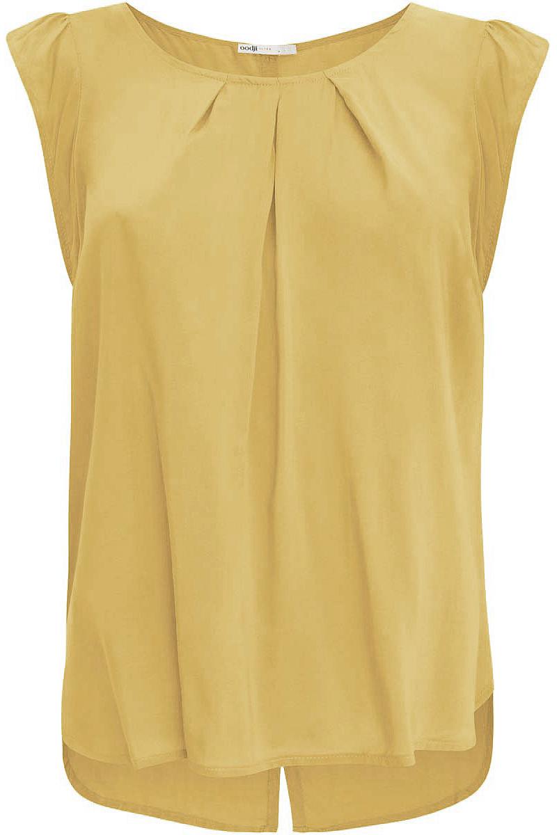Блузка женская oodji Ultra, цвет: песочный. 11403194-1/24681/5200N. Размер 34-170 (40-170)11403194-1/24681/5200NЖенская блузка oodji Ultra выполнена из вискозы. Модель с короткими рукавами и круглой горловиной. Лицевая сторона оформлена крупными декоративными складками, спинка - вертикальной планкой с пуговицами и разрезом. Низ изделия слегка закруглен, спинка длиннее передней части.